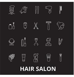 hair salon editable line icons set on black vector image