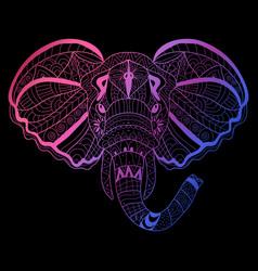 hand drawn neon elephant vector image