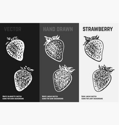 hand drawn strawberry icons vector image