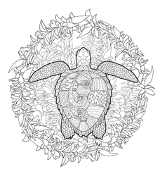 Hand drawn swimming turtle with high details vector image