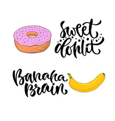 hand lettering sweet food with printable vector image