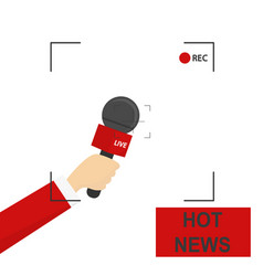 Hand with microphone recording frame hot news vector