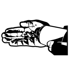 hand with pills vector image