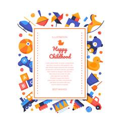 happy childhood - flat design style banner vector image