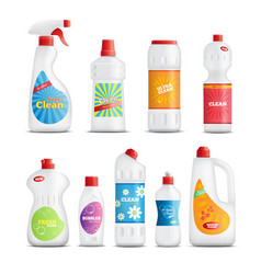 Household chemical goods set vector