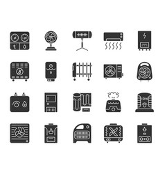 hvac black silhouette icons set vector image