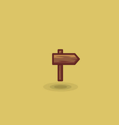 Icon one wooden path sign to right isolated vector