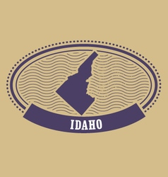 Idaho map silhouette - oval stamp of state vector image