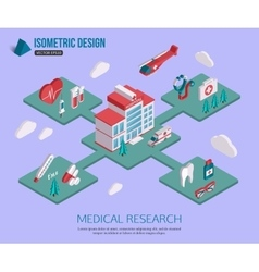 Isometric 3d Medical research and Healthcare vector