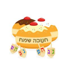 Jewish holiday hanukkah doughnuts and dreidel vector