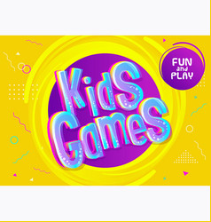 Kids games background in cartoon style bright vector