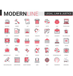 Legal law and justice flat line icon vector