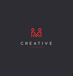 Letter m people creative business logo design vector