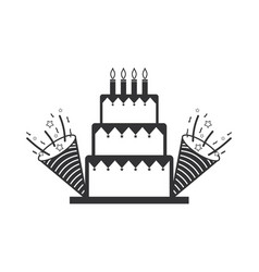 line cake with party horn to birthday celebration vector image