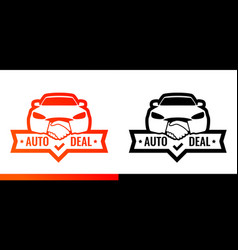 logo for dealership car front with handshake vector image