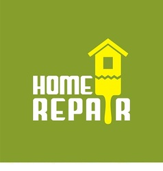 logo with brush and house vector image vector image