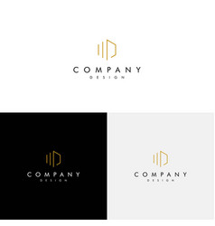 logo with initials md modern and luxurious vector image
