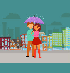 love in rain valentines day romantic scene couple vector image
