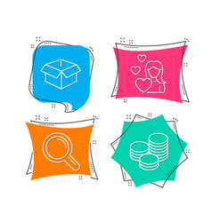 love research and opened box icons tips sign vector image