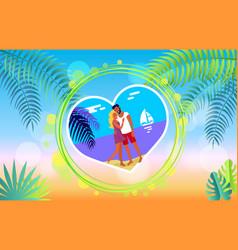 Lovely hugging couple on summer beach romance vector