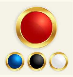 luxury golden round buttons set in different vector image