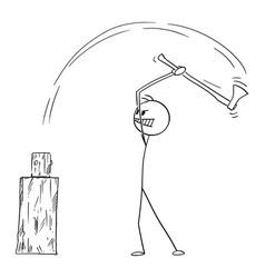 Man chopping fire wood with axe cartoon stick vector
