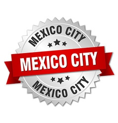 Mexico City round silver badge with red ribbon vector image