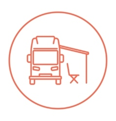 Motorhome with tent line icon vector