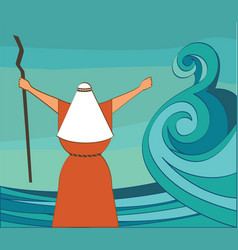 mozes splitting the red sea and ordering let my vector image