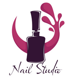 Nail studio beauty salon polish or varnish bottle vector