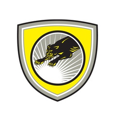 Panther Big Cat Growling Crest vector