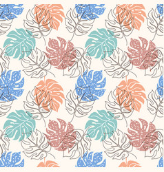 pattern with monstera leaves vector image