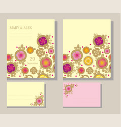 Postcard invitation with rose and leaves vector