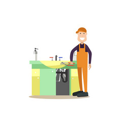 professional plumber in flat vector image