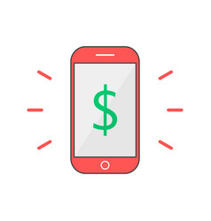 red outline phone with dollar mark vector image