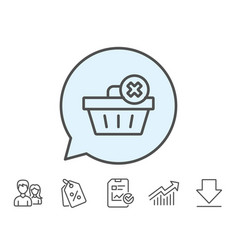 Remove shopping cart line icon online buying vector