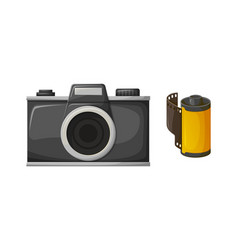 retor black film camera and photo roll vector image