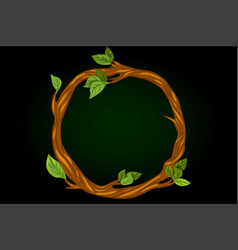 Round wreath tree branches with leaves vector
