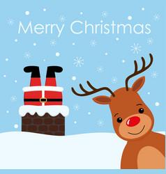 santa stuck in chimney vintage reindeer smile vector image
