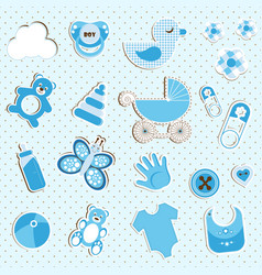 Scrapbook set of baby boy things vector