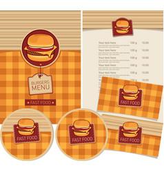 set design elements for fast food restaurant vector image