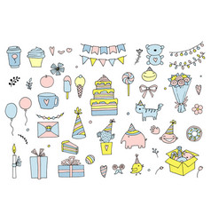 set of birthday party in doodle style isolated on vector image