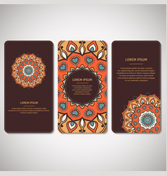 set of ornamental cards flyers with flower vector image