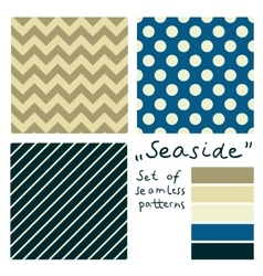 Set of simple seamless geometric patterns Seaside vector image