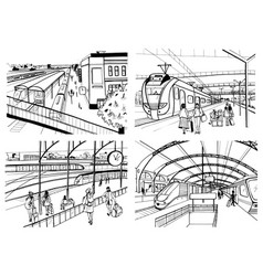 Set of sketches with railway station passengers vector