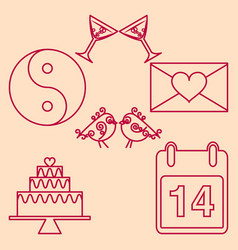Set valentines day design outline emblems vector