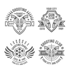 shooting range or shooting club emblems vector image
