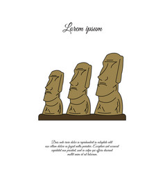 Statues moai on easter island color icon vector