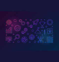Strategy outline colorful horizontal vector