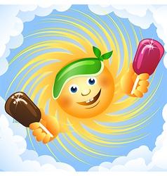 Sun and ice cream vector